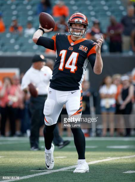Andy Dalton of the Cincinnati Bengals throws a pass before the preseason game against the Kansas City Chiefs at Paul Brown Stadium on August 19 2017...