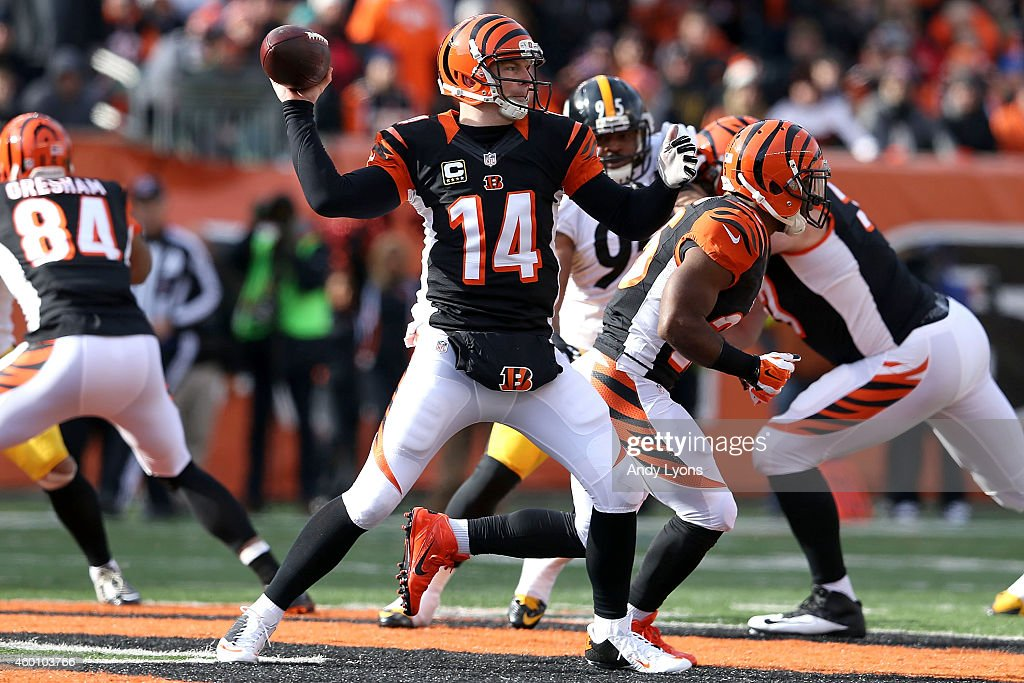 Andy Dalton of the Cincinnati Bengals throws a pass during the first quarter of the game against the Pittsburgh Steelers at Paul Brown Stadium on...