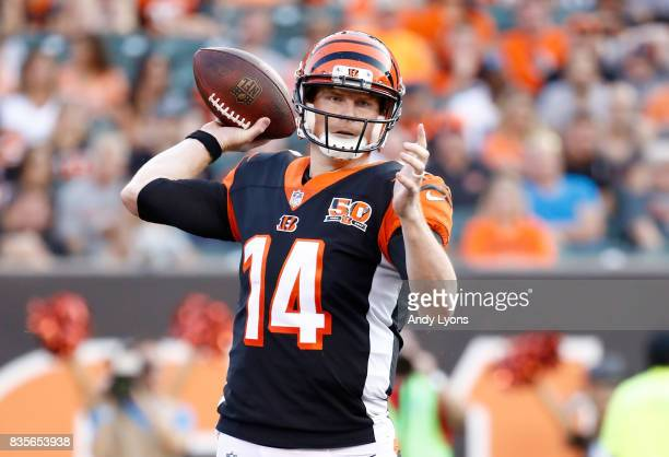 Andy Dalton of the Cincinnati Bengals throws a pass during the preseason game against the Kansas City Chiefs at Paul Brown Stadium on August 19 2017...