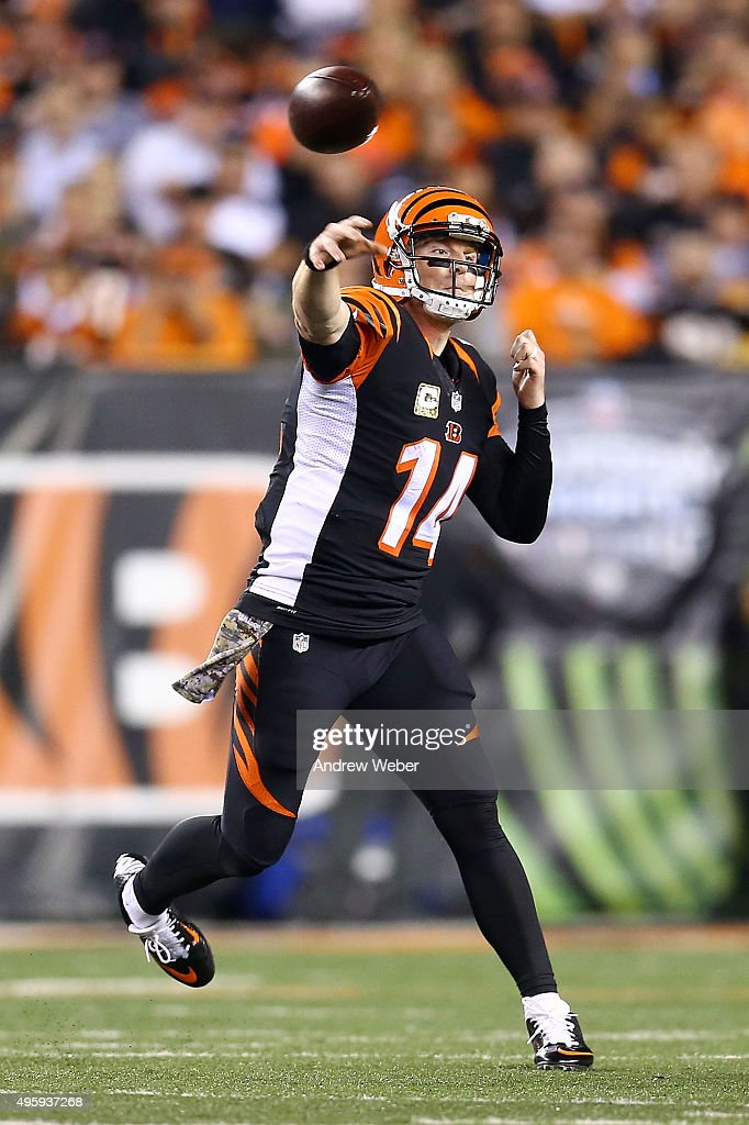 Andy Dalton of the Cincinnati Bengals throws a pass during the third quarter of the game against the Cleveland Browns at Paul Brown Stadium on...