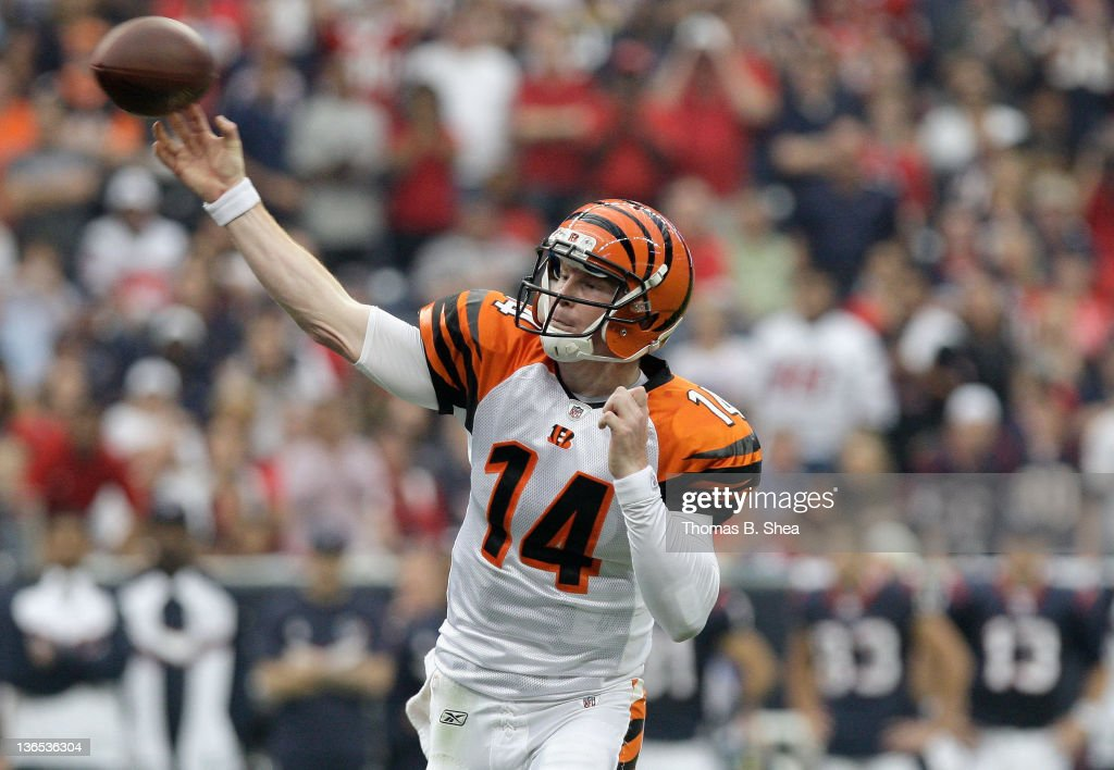 Andy Dalton of the Cincinnati Bengals throws a pass in the first half against the Houston Texans during their 2012 AFC Wild Card Playoff game at...