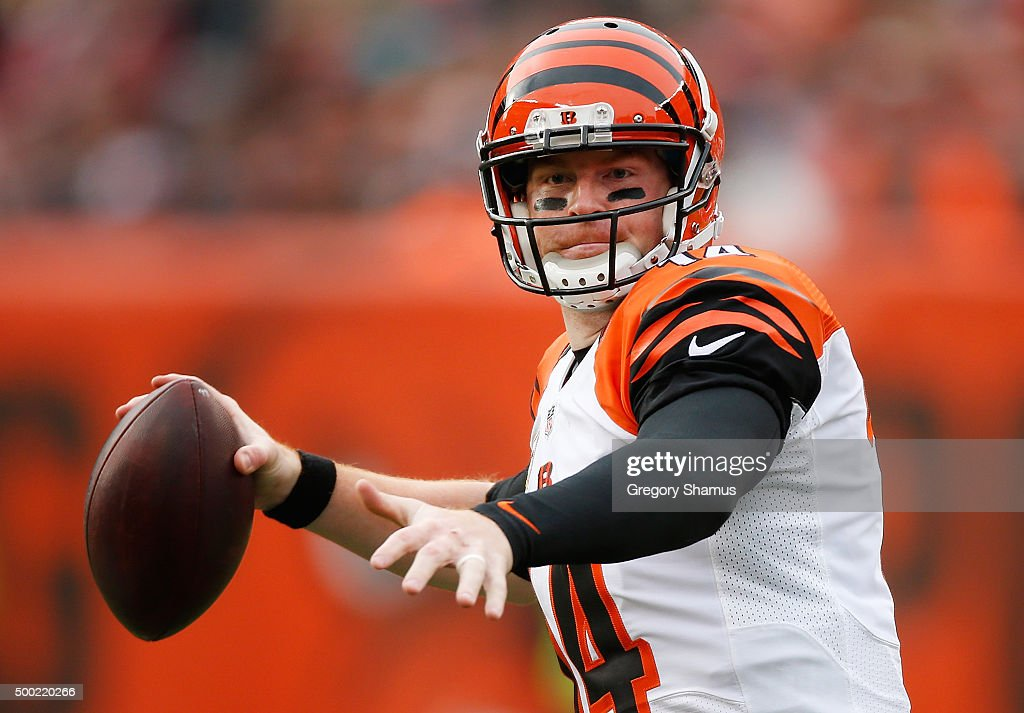 Andy Dalton of the Cincinnati Bengals throws a second quarter pass while playing the Cleveland Browns at FirstEnergy Stadium on December 6 2015 in...