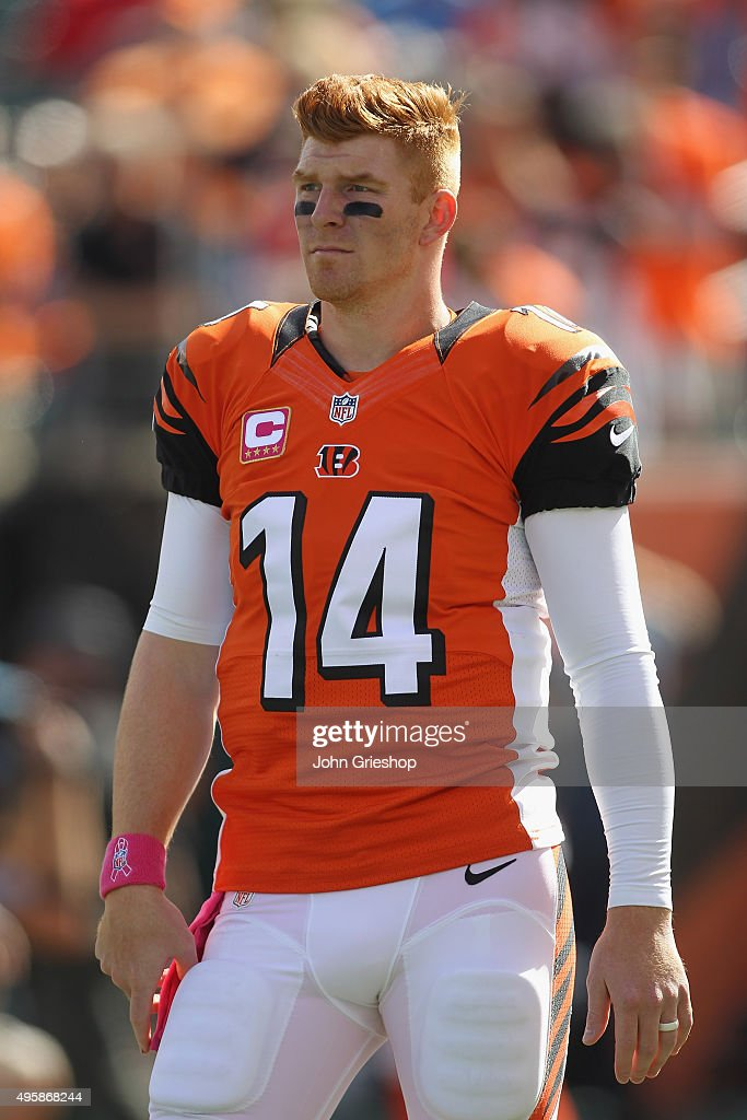 Andy Dalton of the Cincinnati Bengals warms up before the game against the Kansas City Chiefs at Paul Brown Stadium on October 4 2015 in Cincinnati...