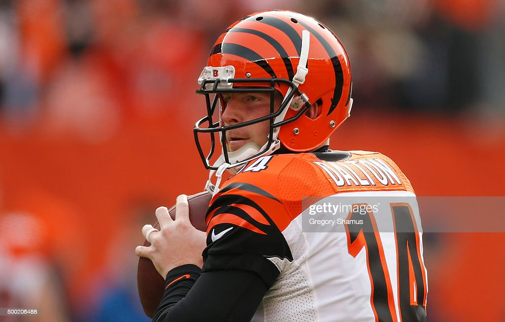 Andy Dalton of the Cincinnati Bengals warms up prior to playing the Cleveland Browns at FirstEnergy Stadium on December 6 2015 in Cleveland Ohio