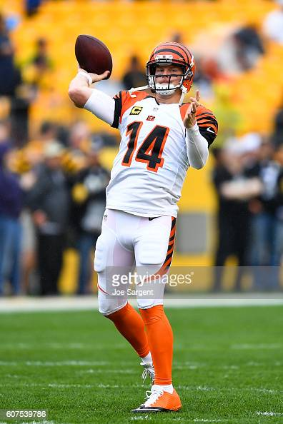 Andy Dalton of the Cincinnati Bengals warms up prior to the game against the Pittsburgh Steelers at Heinz Field on September 18 2016 in Pittsburgh...