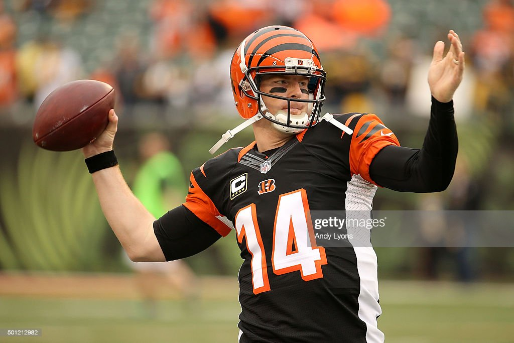 Andy Dalton of the Cincinnati Bengals warms up prior to the start of the game against the Pittsburgh Steelers at Paul Brown Stadium on December 13...