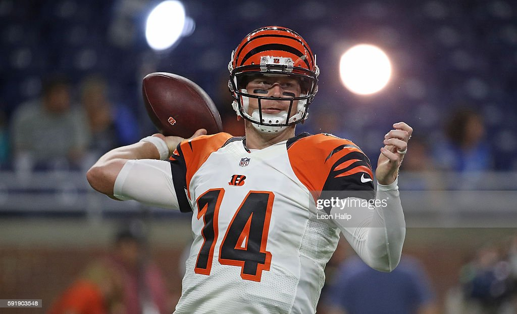 Andy Dalton of the Cincinnati Bengals warms up prior to the start of the preseason game against the Detroit Lions at Ford Field on August 18 2016 in...