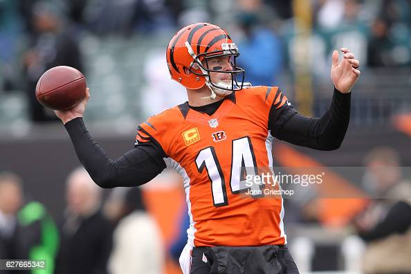Andy Dalton of the Cincinnati Bengals warms up prior to the start of the game against the Philadelphia Eagles at Paul Brown Stadium on December 4...