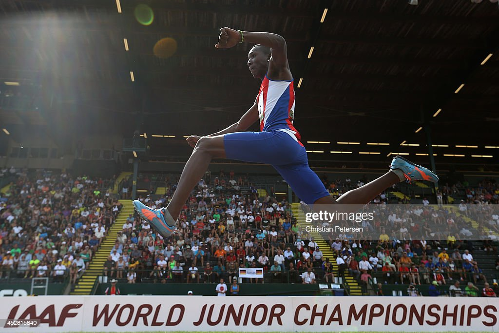 Andy Díaz of Cuba competes in the men's triple jump final during day six of the IAAF World Junior Championships at Hayward Field on July 27 2014 in...
