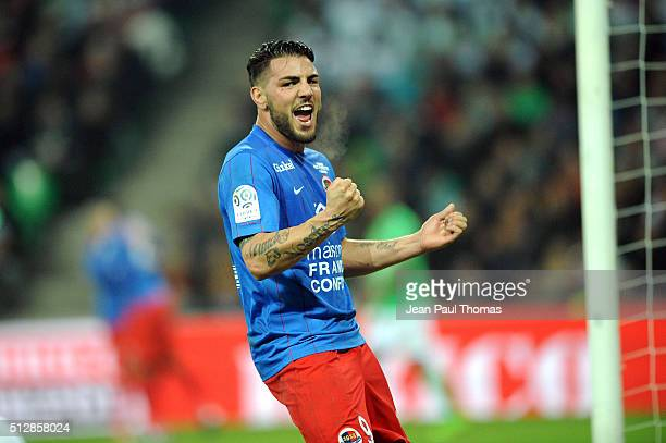 Andy DELORT of Caen celebrates his goal during the French Ligue 1 game between AS SaintEtienne v SM Caen at Stade GeoffroyGuichard on February 28...