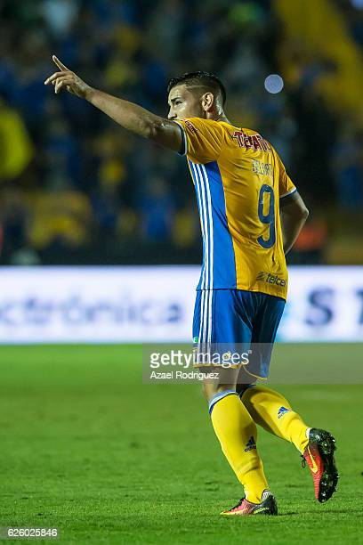 Andy Delort of Tigres celebrates after scoring his team's fifth goal during the quarter finals second leg match between Tigres UANL and Pumas UNAM as...