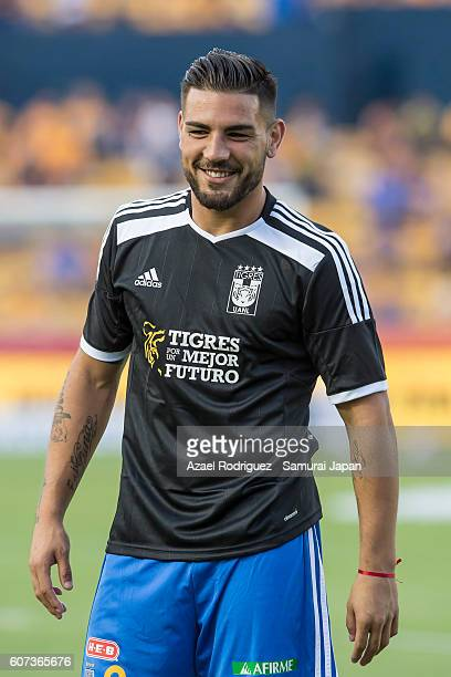 Andy Delort of Tigres looks on while he warms up prior the 10th round match between Tigres UANL and Puebla as part of Torneo Apertura 2016 at...
