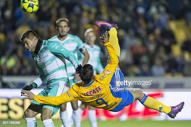 Andy Delort of Tigres performs a overhead scissor kick during the 1st round match between Tigres UANL and Santos Laguna as par of the Torneo Clausura...