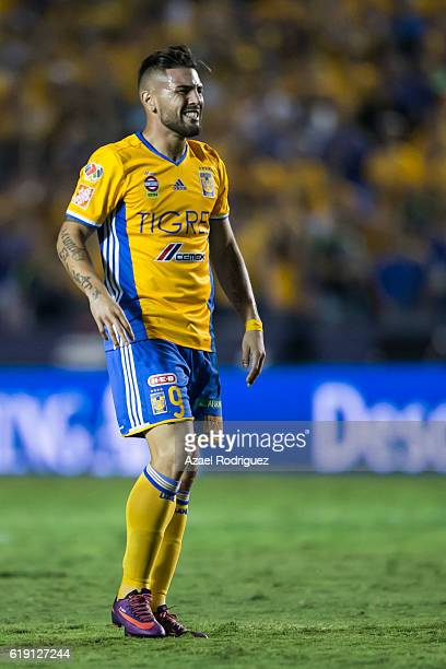 Andy Delort of Tigres reacts during the 15th round match between Tigres UANL and Monterrey as part of the Torneo Apertura 2016 Liga MX at...
