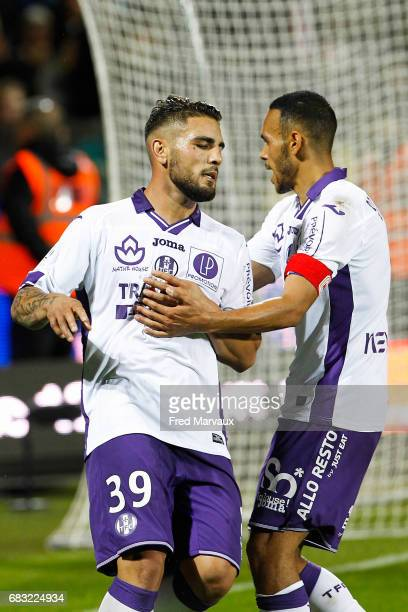 Andy Delort of Toulouse and Martin Braithwaite of Toulouse during the Ligue 1 match between FC Metz and Toulouse FC at Stade SaintSymphorien on May...