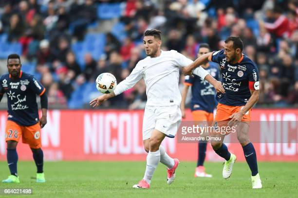 Andy Delort of Toulouse and Vitorino Hilton of Montpellier during the French Ligue 1 match between Montpellier and Toulouse at Stade de la Mosson on...