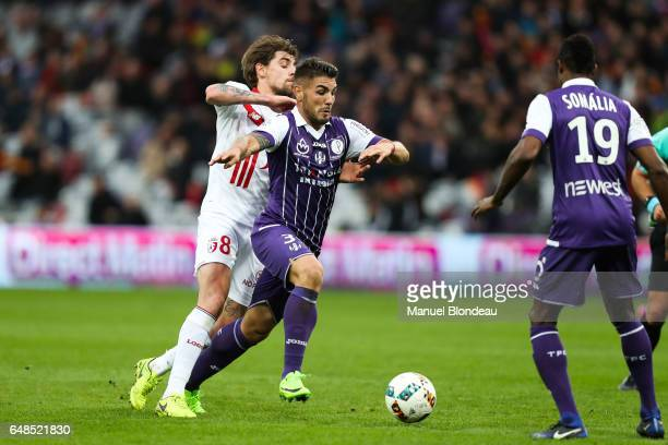 Andy Delort of Toulouse and Xeka of Lille during the French Ligue 1 match between Toulouse and Lille at Stadium Municipal on March 5 2017 in Toulouse...