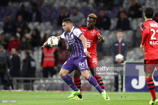 Andy Delort of Toulouse during the French League match between Toulouse and Rennes at Stadium Municipal on March 18 2017 in Toulouse France