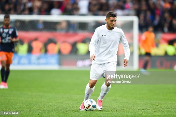 Andy Delort of Toulouse during the French Ligue 1 match between Montpellier and Toulouse at Stade de la Mosson on April 2 2017 in Montpellier France