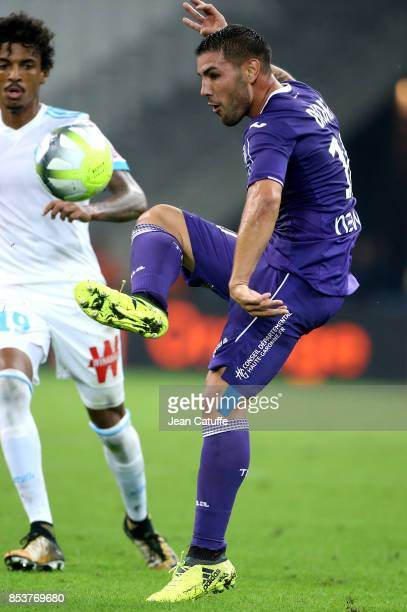 Andy Delort of Toulouse during the French Ligue 1 match between Olympique de Marseille and Toulouse FC at Stade Velodrome on September 24 2017 in...