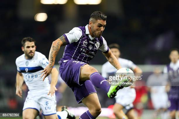 Andy Delort of Toulouse during the Ligue 1 match between Toulouse Fc and Sc Bastia at Stadium Municipal on February 11 2017 in Toulouse France
