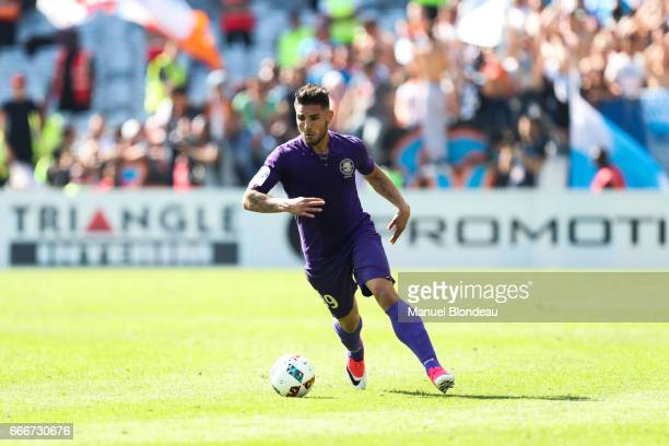 Andy Delort of Toulouse during the Ligue 1 match between Toulouse FC and Olympique de Marseille at Stadium Municipal on April 9 2017 in Toulouse...