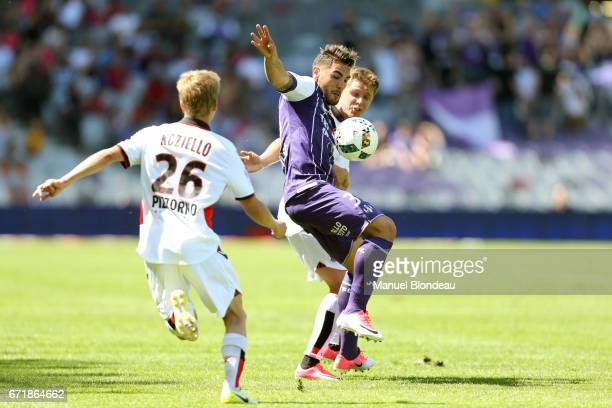 Andy Delort of Toulouse during the Ligue 1 match between Toulouse FC and OGC Nice at Stadium Municipal on April 23 2017 in Toulouse France