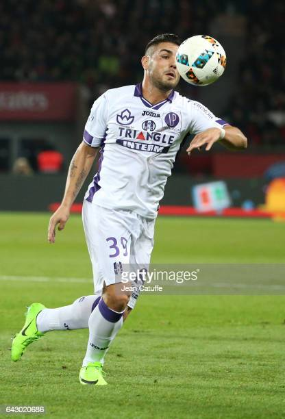 Andy Delort of Toulouse in action during the French Ligue 1 match between Paris SaintGermain and Toulouse FC at Parc des Princes stadium on February...
