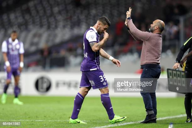 Andy Delort of Toulouse walks off after being substituted during the French League match between Toulouse and Rennes at Stadium Municipal on March 18...