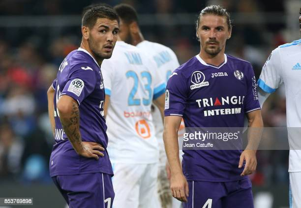 Andy Delort Yannick Cahuzac of Toulouse during the French Ligue 1 match between Olympique de Marseille and Toulouse FC at Stade Velodrome on...