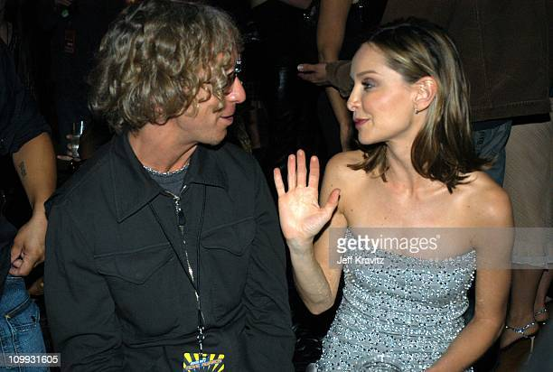 Andy Dick and Calista Flockhart during 2003 MTV Movie Awards Backstage and Audience at The Shrine Auditorium in Los Angeles California United States