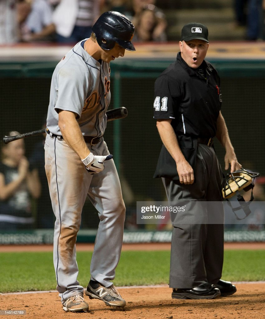 <a gi-track='captionPersonalityLinkClicked' href=/galleries/search?phrase=Andy+Dirks&family=editorial&specificpeople=7511216 ng-click='$event.stopPropagation()'>Andy Dirks</a> #12 of the Detroit Tigers argues with home plate umpire Jerry Meals #41about the third called strike during the ninth inning against the Cleveland Indians at Progressive Field on May 23, 2012 in Cleveland, Ohio. The Indians defeated the Tigers 4-2.