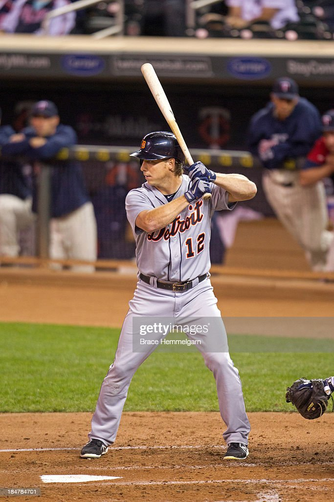 <a gi-track='captionPersonalityLinkClicked' href=/galleries/search?phrase=Andy+Dirks&family=editorial&specificpeople=7511216 ng-click='$event.stopPropagation()'>Andy Dirks</a> #12 of the Detroit Tigers bats against the Minnesota Twins on September 25, 2013 at Target Field in Minneapolis, Minnesota. The Tigers defeated the Twins 1-0.