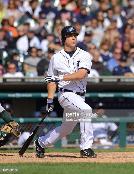 Andy Dirks of the Detroit Tigers bats during the game against the Oakland Athletics at Comerica Park on September 20 2012 in Detroit Michigan The A's...