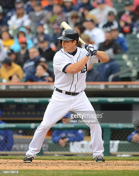 Andy Dirks of the Detroit Tigers bats during the game against the Toronto Blue Jays at Comerica Park on April 9 2013 in Detroit Michigan The Tigers...