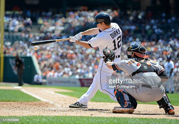 Andy Dirks of the Detroit Tigers bats during the game against the Baltimore Orioles at Comerica Park on June 19 2013 in Detroit Michigan The Orioles...