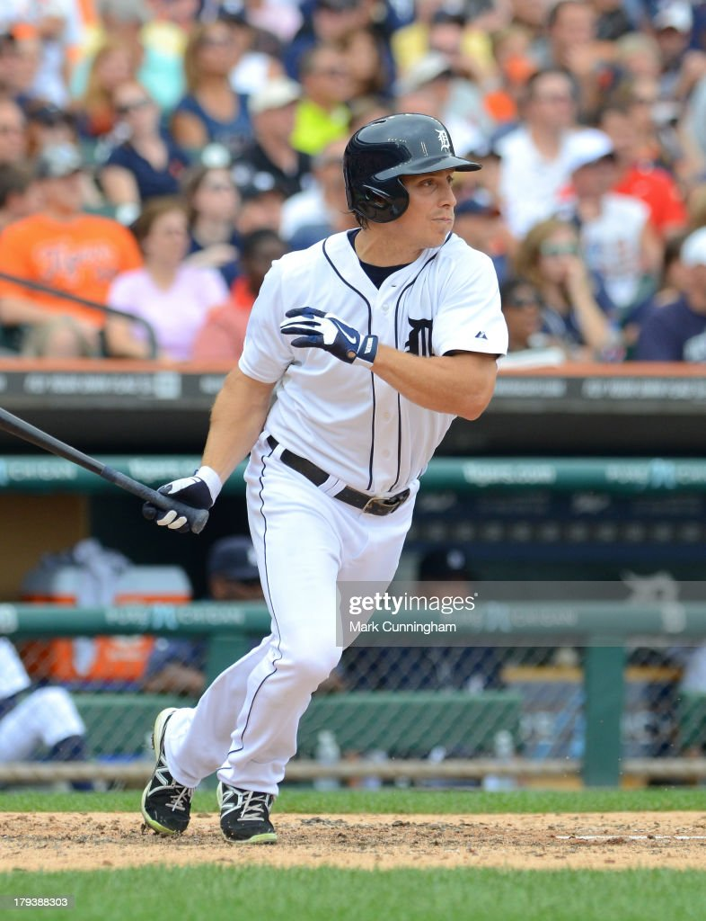 Andy Dirks #12 of the Detroit Tigers bats during the game against the Cleveland Indians at Comerica Park on September 1, 2013 in Detroit, Michigan. The Indians defeated the Tigers 4-0.