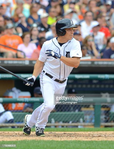 Andy Dirks of the Detroit Tigers bats during the game against the Cleveland Indians at Comerica Park on September 1 2013 in Detroit Michigan The...