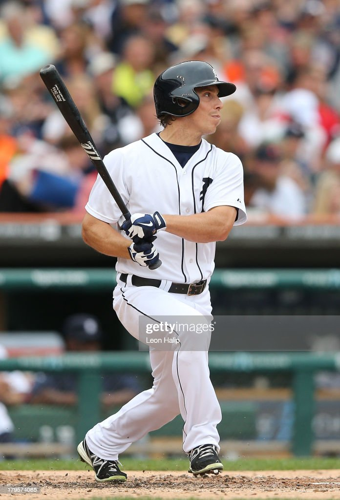 Andy Dirks #12 of the Detroit Tigers bats during the seventh inning of the game against the Cleveland Indians at Comerica Park on September 1, 2013 in Detroit, Michigan. The Indians defeated the Tigers 4-0.