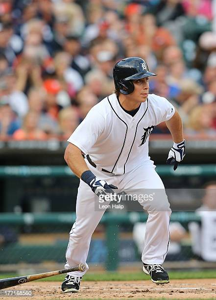 Andy Dirks of the Detroit Tigers bats during the third inning of the game against the Kansas City Royals at Comerica Park on August 15 2013 in...