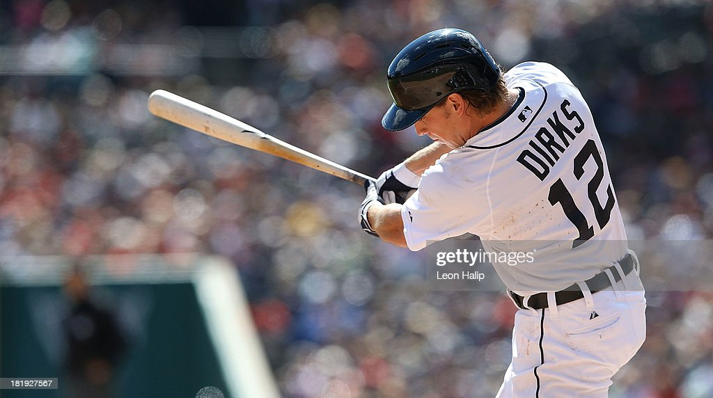 Andy Dirks #12 of the Detroit Tigers bats in the first inning of the game against the Chicago White Sox at Comerica Park on September 22, 2013 in Detroit, Michigan. The White Sox defeated the Tigers 6-3.