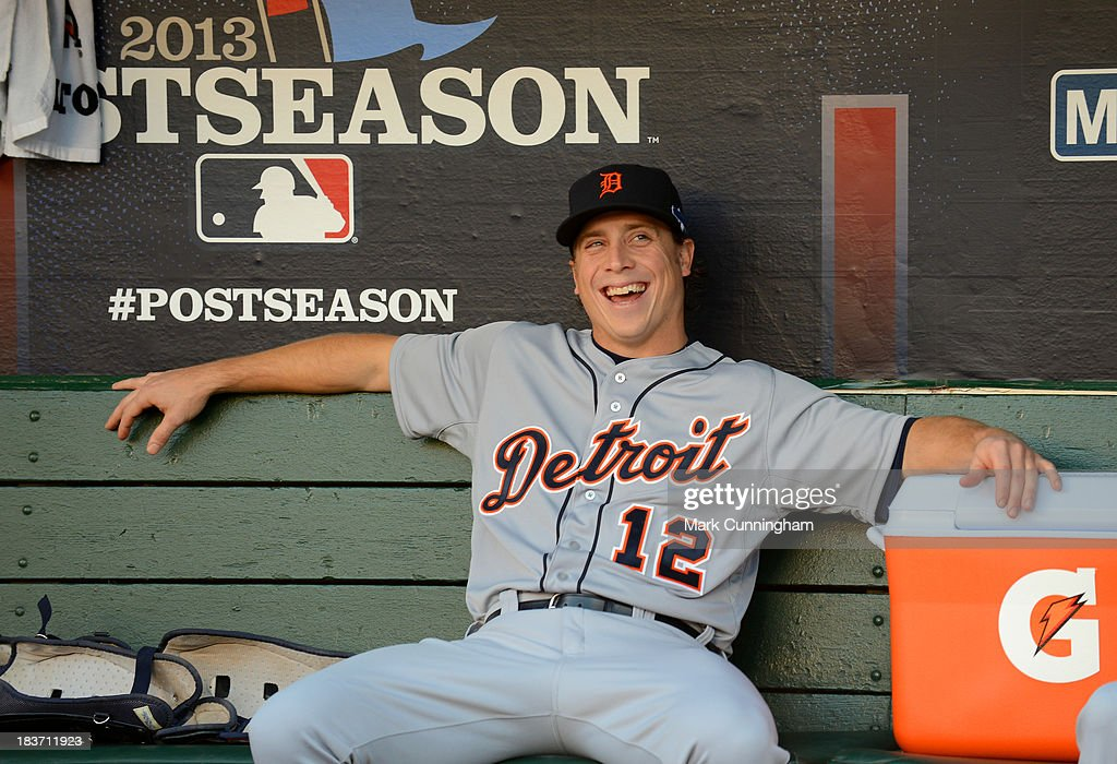 <a gi-track='captionPersonalityLinkClicked' href=/galleries/search?phrase=Andy+Dirks&family=editorial&specificpeople=7511216 ng-click='$event.stopPropagation()'>Andy Dirks</a> #12 of the Detroit Tigers looks on from the dugout and smiles prior to Game One of the American League Division Series against the Oakland Athletics at O.co Coliseum on October 4, 2013 in Oakland, California. The Tigers defeated the A's 3-2.