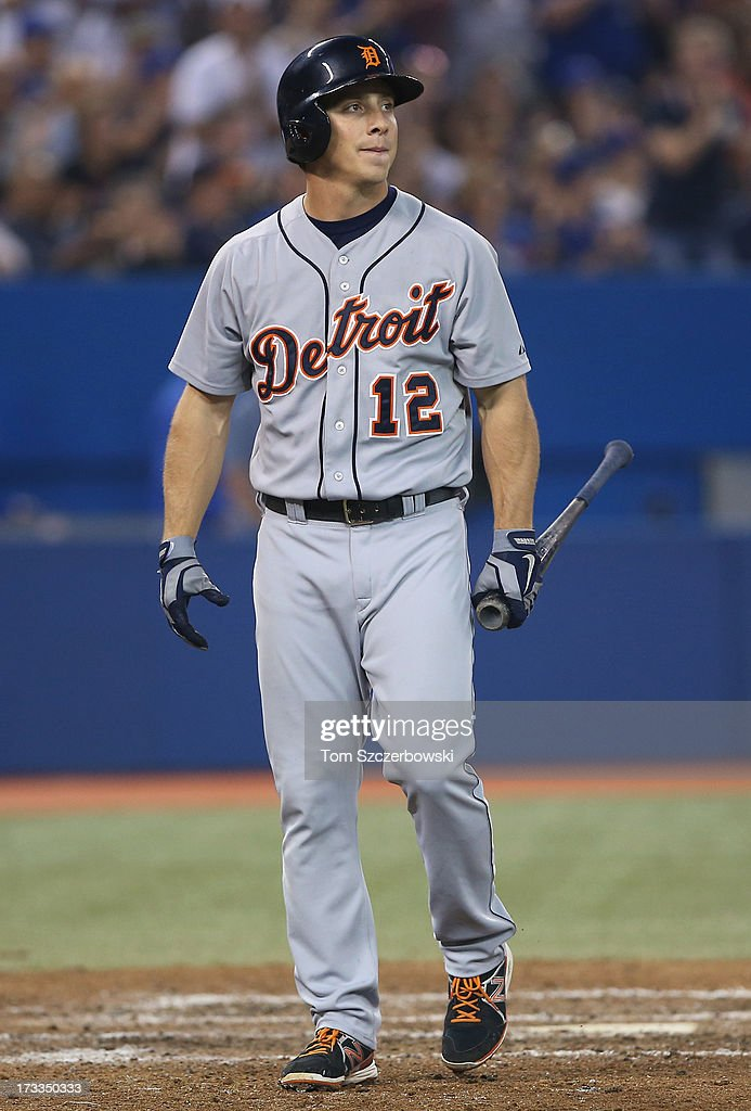 <a gi-track='captionPersonalityLinkClicked' href=/galleries/search?phrase=Andy+Dirks&family=editorial&specificpeople=7511216 ng-click='$event.stopPropagation()'>Andy Dirks</a> #12 of the Detroit Tigers reacts after making an out during MLB game action against the Toronto Blue Jays on July 2, 2013 at Rogers Centre in Toronto, Ontario, Canada.