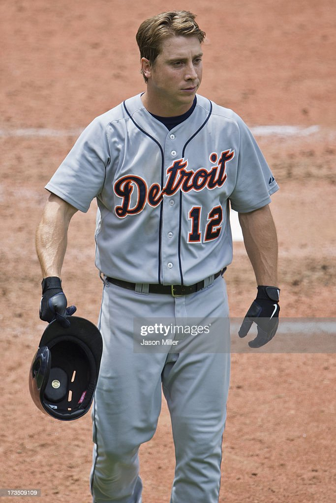 <a gi-track='captionPersonalityLinkClicked' href=/galleries/search?phrase=Andy+Dirks&family=editorial&specificpeople=7511216 ng-click='$event.stopPropagation()'>Andy Dirks</a> #12 of the Detroit Tigers reacts after striking out during the game against the Cleveland Indians at Progressive Field on July 7, 2013 in Cleveland, Ohio. The Indians defeated the Tigers 9-6.
