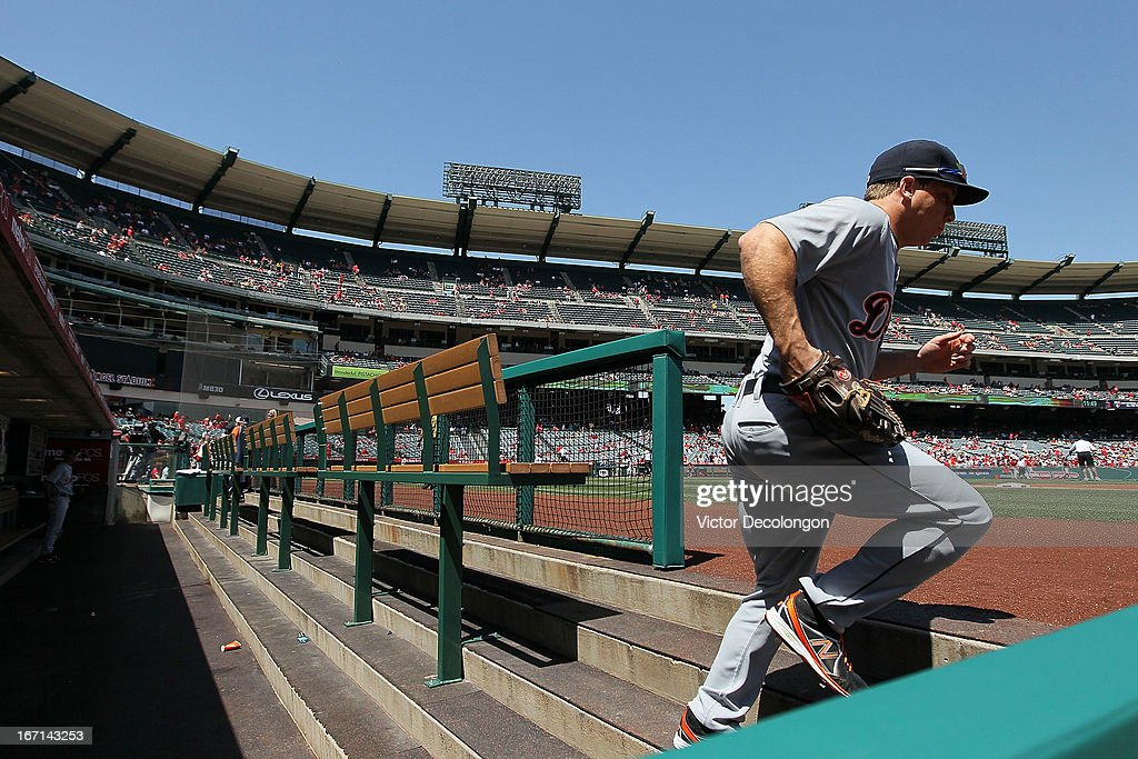 <a gi-track='captionPersonalityLinkClicked' href=/galleries/search?phrase=Andy+Dirks&family=editorial&specificpeople=7511216 ng-click='$event.stopPropagation()'>Andy Dirks</a> #12 of the Detroit Tigers takes the field for the MLB game against the Los Angeles Angels of Anaheim at Angel Stadium of Anaheim on April 20, 2013 in Anaheim, California. The Angels defeated the Tigers 10-0.