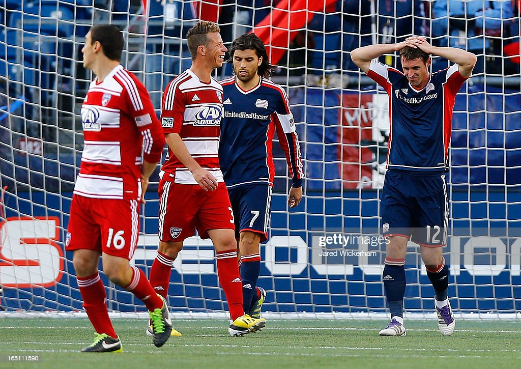 <a gi-track='captionPersonalityLinkClicked' href=/galleries/search?phrase=Andy+Dorman&family=editorial&specificpeople=586204 ng-click='$event.stopPropagation()'>Andy Dorman</a> #12 of New England Revolution holds his hands over his head in the final seconds of their 1-0 loss against FC Dallas during the game at Gillette Stadium on March 30, 2013 in Foxboro, Massachusetts.