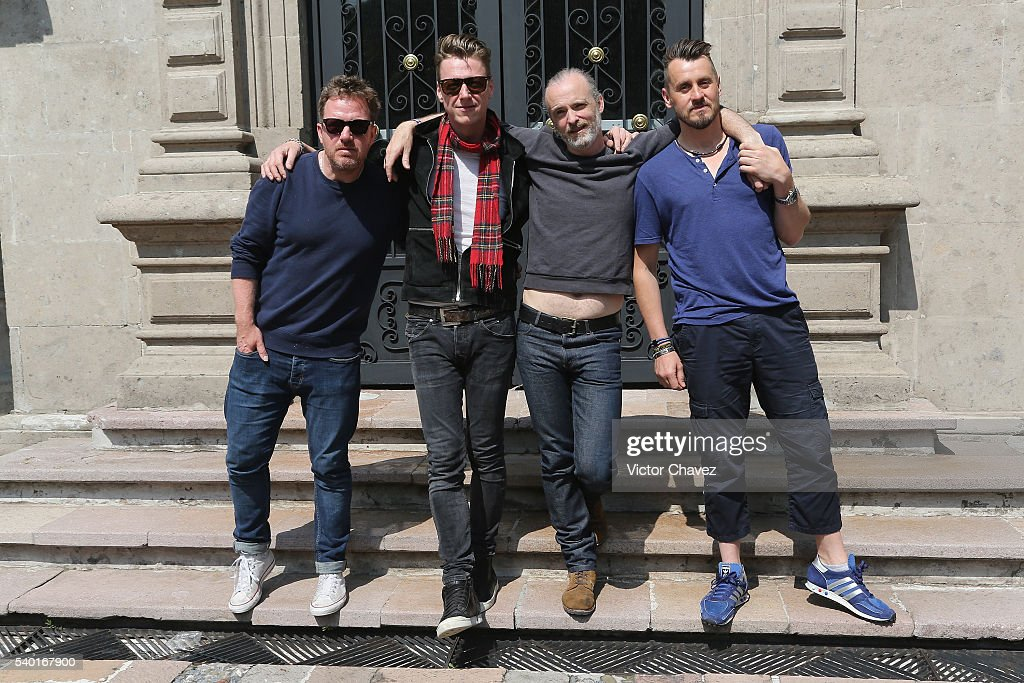 Andy Dunlop Douglas 'Dougie' Payne Fran Healy and Neil Primrose of british band Travis attend a photocall at Universal Music on June 14 2016 in...