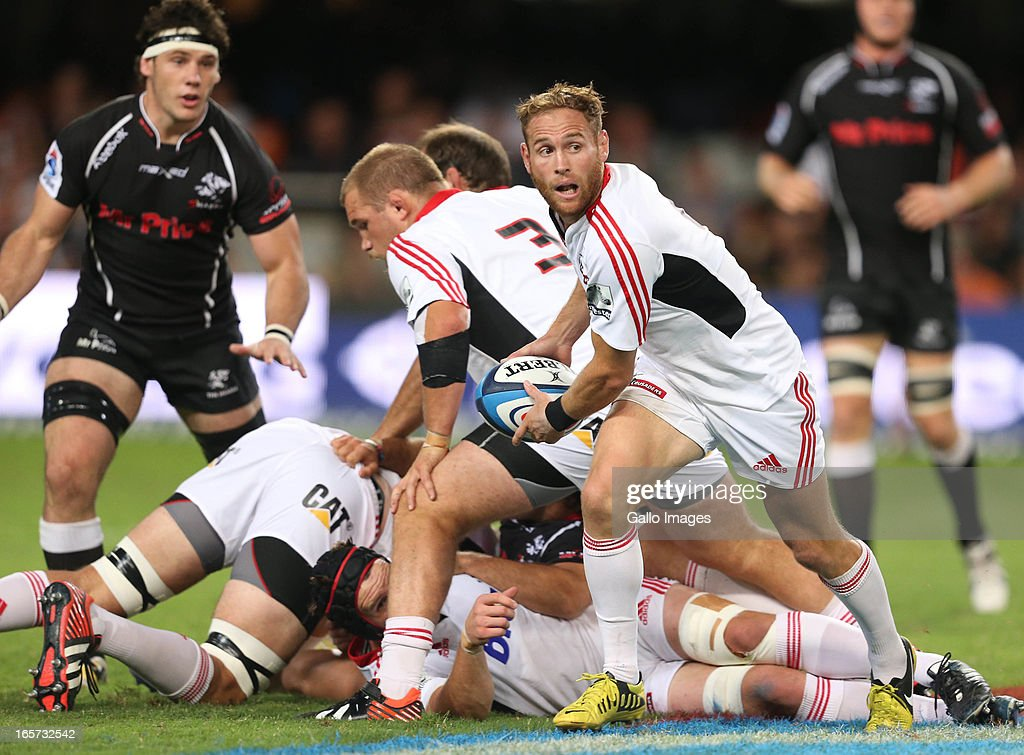 Andy Ellis of Crusaders ends up with the ball during the Super Rugby match between The Sharks and Crusaders from Kings Park on April 05, 2013 in Durban, South Africa.