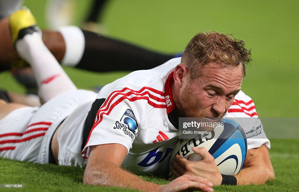 Andy Ellis of Crusaders scores a try during the Super Rugby round eight match between the Sharks and Crusaders from Kings Park on April 05, 2013 in Durban, South Africa.