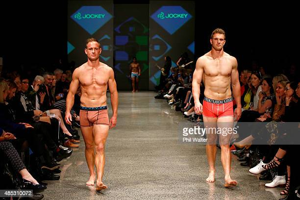 Andy Ellis of the All Blacks and Scott Curry of the All Black Sevens walk in the Jockey show at New Zealand Fashion Week 2015 on August 27 2015 in...